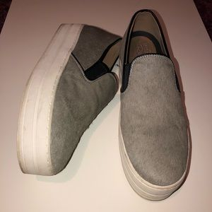 Soft gray studded slip on luxe platform sneakers
